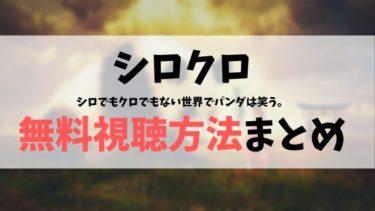 【全話無料見逃し】シロクロ動画を無料視聴する方法(1話~最終話)